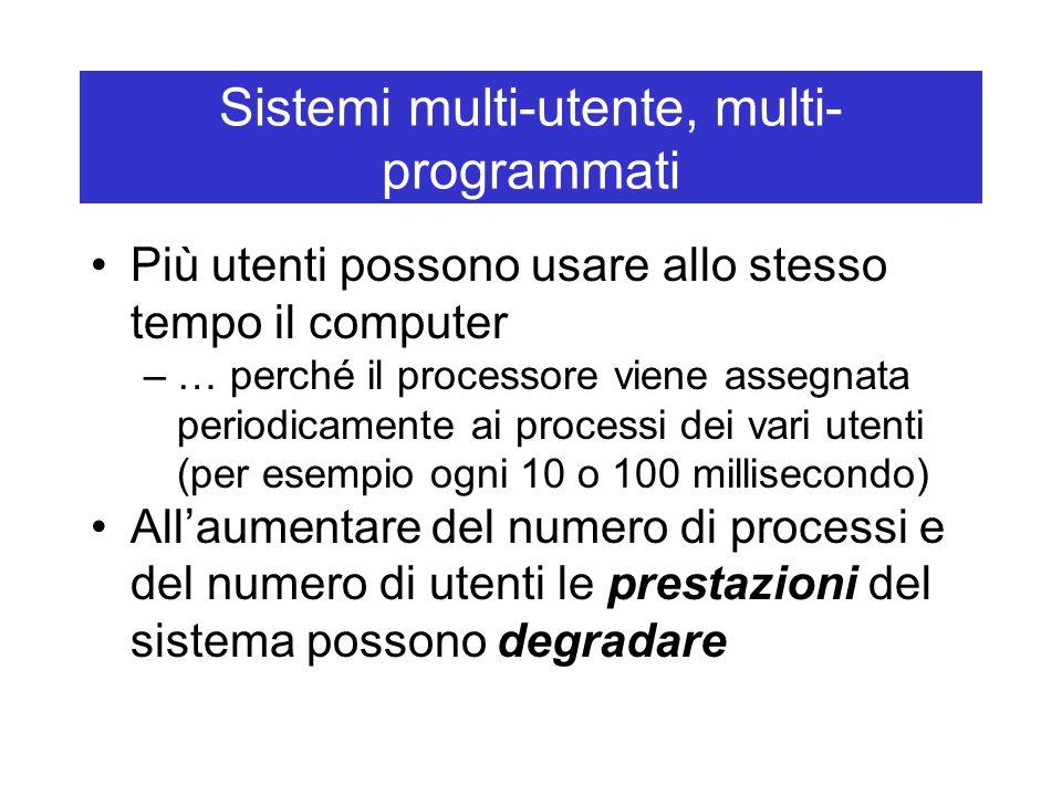 Sistemi multi-utente, multi- programmati Più utenti possono usare allo stesso tempo il computer –… perché il processore viene assegnata periodicamente ai processi dei vari utenti (per esempio ogni 10 o 100 millisecondo) All'aumentare del numero di processi e del numero di utenti le prestazioni del sistema possono degradare