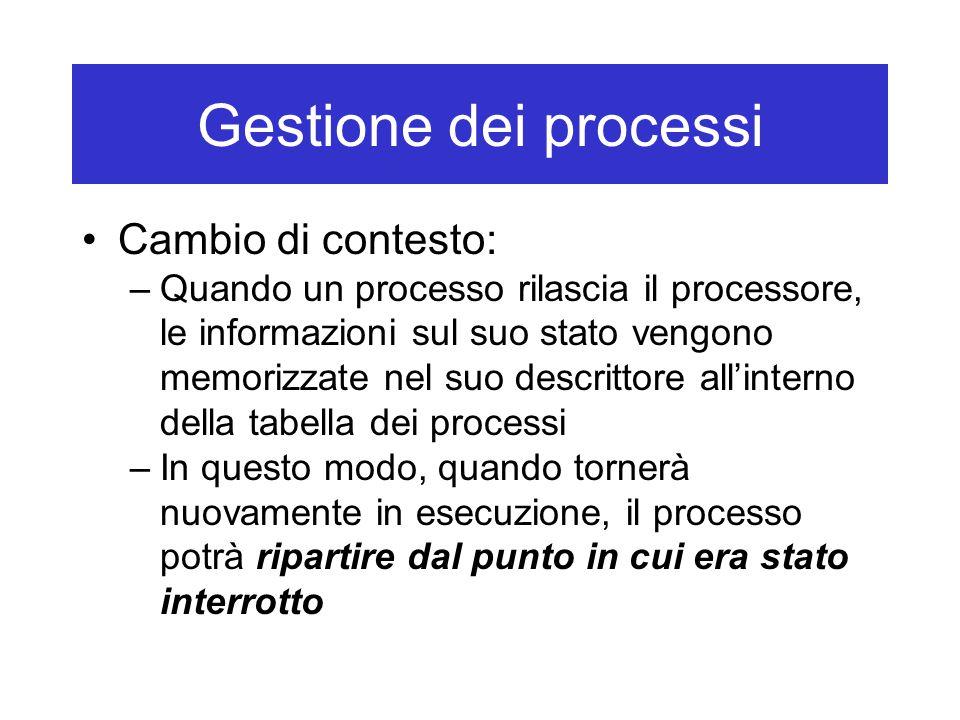 Gestione dei processi Cambio di contesto: –Quando un processo rilascia il processore, le informazioni sul suo stato vengono memorizzate nel suo descrittore all'interno della tabella dei processi –In questo modo, quando tornerà nuovamente in esecuzione, il processo potrà ripartire dal punto in cui era stato interrotto