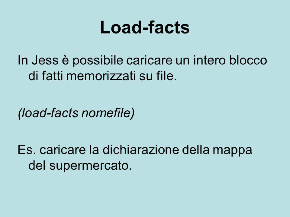 Load-facts In Jess è possibile caricare un intero blocco di fatti memorizzati su file. (load-facts nomefile) Es. caricare la dichiarazione della mappa