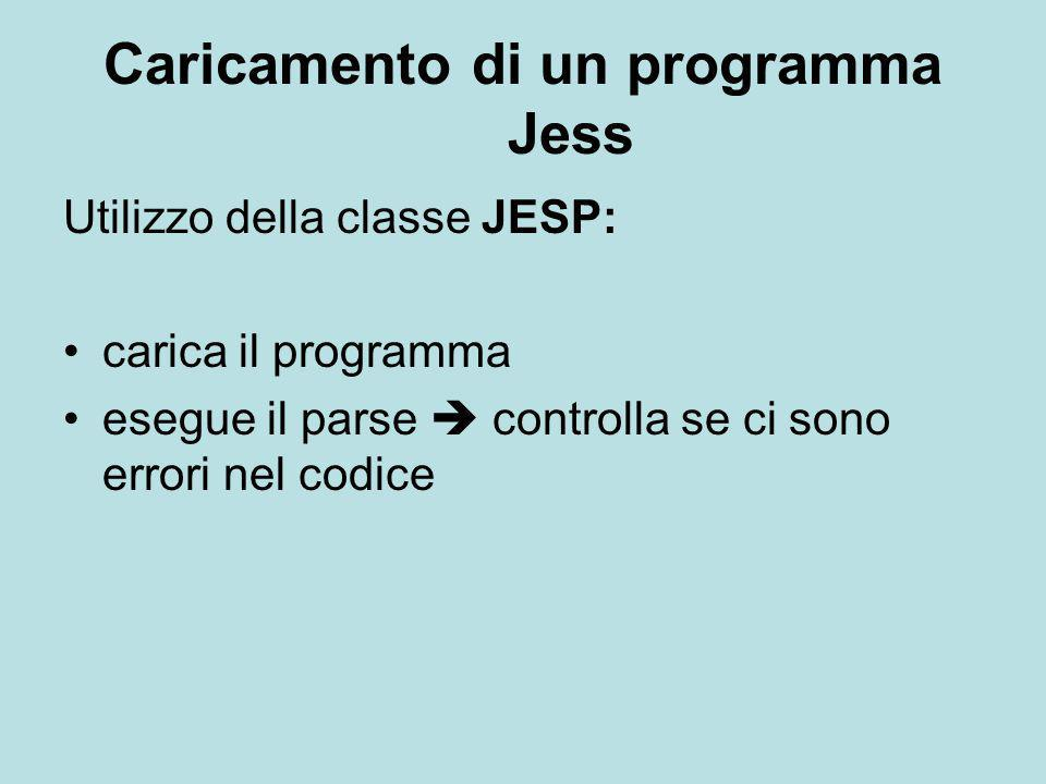 Caricamento di un programma Jess Utilizzo della classe JESP: carica il programma esegue il parse  controlla se ci sono errori nel codice