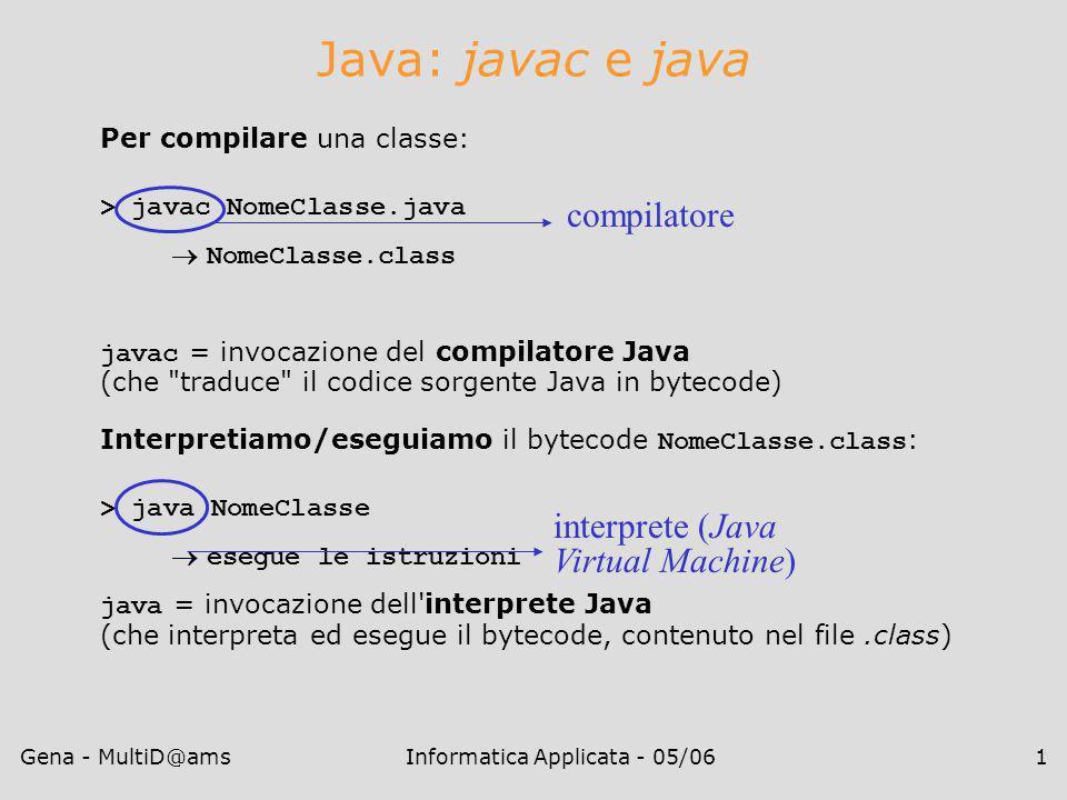 Gena - MultiD@amsInformatica Applicata - 05/061 Java: javac e java Per compilare una classe: > javac NomeClasse.java  NomeClasse.class javac = invocazione del compilatore Java (che traduce il codice sorgente Java in bytecode) Interpretiamo/eseguiamo il bytecode NomeClasse.class : > java NomeClasse  esegue le istruzioni java = invocazione dell interprete Java (che interpreta ed esegue il bytecode, contenuto nel file.class) compilatore interprete (Java Virtual Machine)