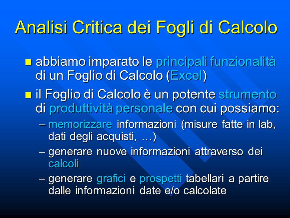 Analisi Critica dei Fogli di Calcolo abbiamo imparato le principali funzionalità di un Foglio di Calcolo (Excel) abbiamo imparato le principali funzionalità di un Foglio di Calcolo (Excel) il Foglio di Calcolo è un potente strumento di produttività personale con cui possiamo: il Foglio di Calcolo è un potente strumento di produttività personale con cui possiamo: –memorizzare informazioni (misure fatte in lab, dati degli acquisti, …) –generare nuove informazioni attraverso dei calcoli –generare grafici e prospetti tabellari a partire dalle informazioni date e/o calcolate