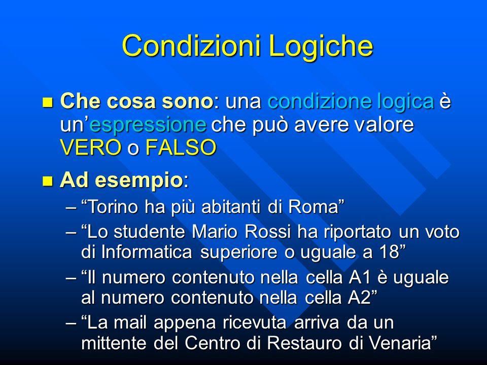 Condizioni Logiche Che cosa sono: una condizione logica è un'espressione che può avere valore VERO o FALSO Che cosa sono: una condizione logica è un'e