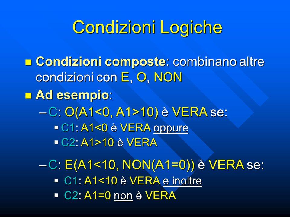 Condizioni Logiche Condizioni composte: combinano altre condizioni con E, O, NON Condizioni composte: combinano altre condizioni con E, O, NON Ad esempio: Ad esempio: –C: O(A1 10) è VERA se:  C1: A1<0 è VERA oppure  C2: A1>10 è VERA –C: E(A1<10, NON(A1=0)) è VERA se:  C1: A1<10 è VERA e inoltre  C2: A1=0 non è VERA