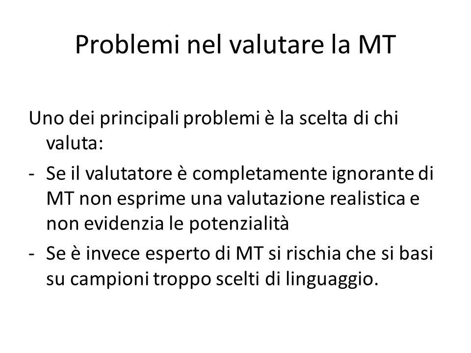 Problemi nel valutare la MT Uno dei principali problemi è la scelta di chi valuta: -Se il valutatore è completamente ignorante di MT non esprime una valutazione realistica e non evidenzia le potenzialità -Se è invece esperto di MT si rischia che si basi su campioni troppo scelti di linguaggio.