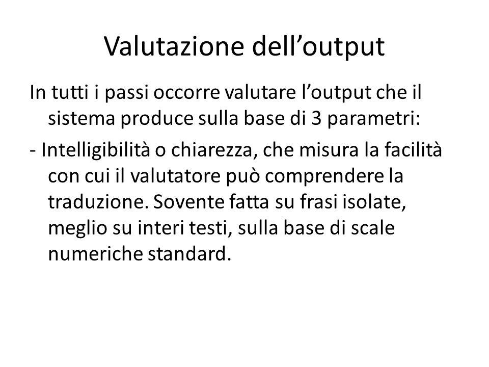 Valutazione dell'output In tutti i passi occorre valutare l'output che il sistema produce sulla base di 3 parametri: - Intelligibilità o chiarezza, che misura la facilità con cui il valutatore può comprendere la traduzione.