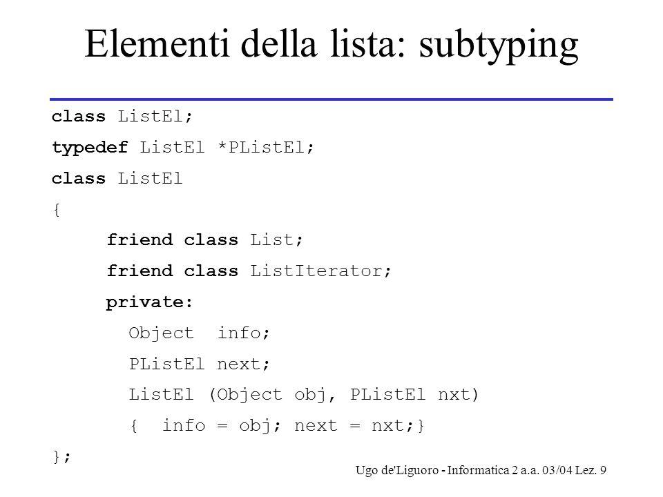 Ugo de Liguoro - Informatica 2 a.a.03/04 Lez.