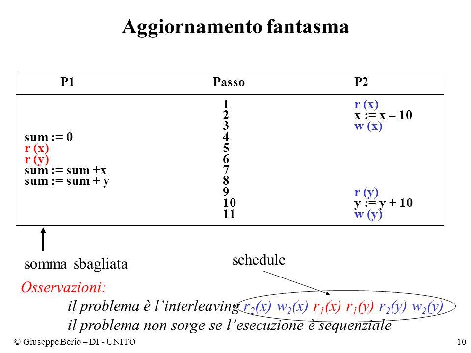 © Giuseppe Berio – DI - UNITO10 Aggiornamento fantasma P1PassoP2 1r (x) 2x := x – 10 3w (x) sum := 0 4 r (x) 5 r (y) 6 sum := sum +x 7 sum := sum + y 8 9r (y) 10y := y + 10 11w (y) somma sbagliata Osservazioni: il problema è l'interleaving r 2 (x) w 2 (x) r 1 (x) r 1 (y) r 2 (y) w 2 (y) il problema non sorge se l'esecuzione è sequenziale schedule
