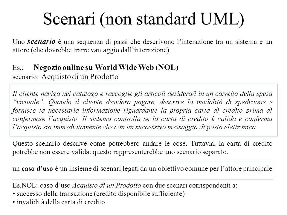 Scenari (non standard UML) Uno scenario è una sequenza di passi che descrivono l'interazione tra un sistema e un attore (che dovrebbe trarre vantaggio dall'interazione) Es.: Negozio online su World Wide Web (NOL) scenario: Acquisto di un Prodotto Il cliente naviga nei catalogo e raccoglie gli articoli desidera/i in un carrello della spesa virtuale .
