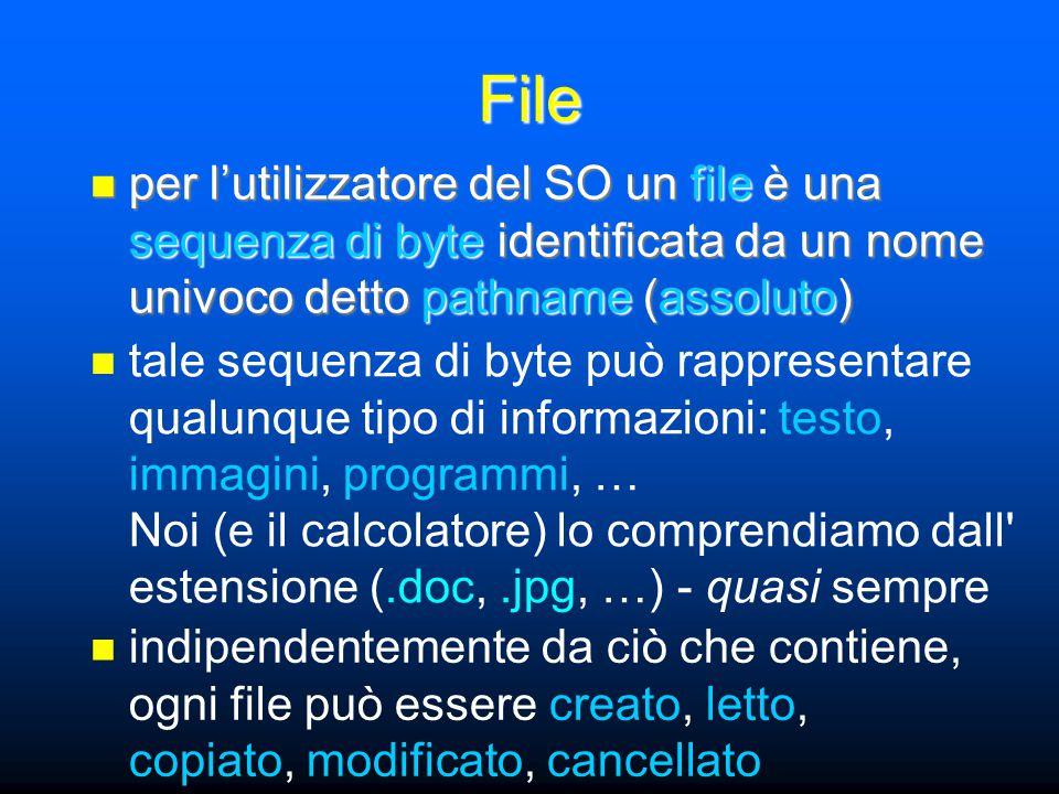 File per l'utilizzatore del SO un file è una sequenza di byte identificata da un nome univoco detto pathname (assoluto) per l'utilizzatore del SO un file è una sequenza di byte identificata da un nome univoco detto pathname (assoluto) tale sequenza di byte può rappresentare qualunque tipo di informazioni: testo, immagini, programmi, … Noi (e il calcolatore) lo comprendiamo dall estensione (.doc,.jpg, …) - quasi sempre indipendentemente da ciò che contiene, ogni file può essere creato, letto, copiato, modificato, cancellato