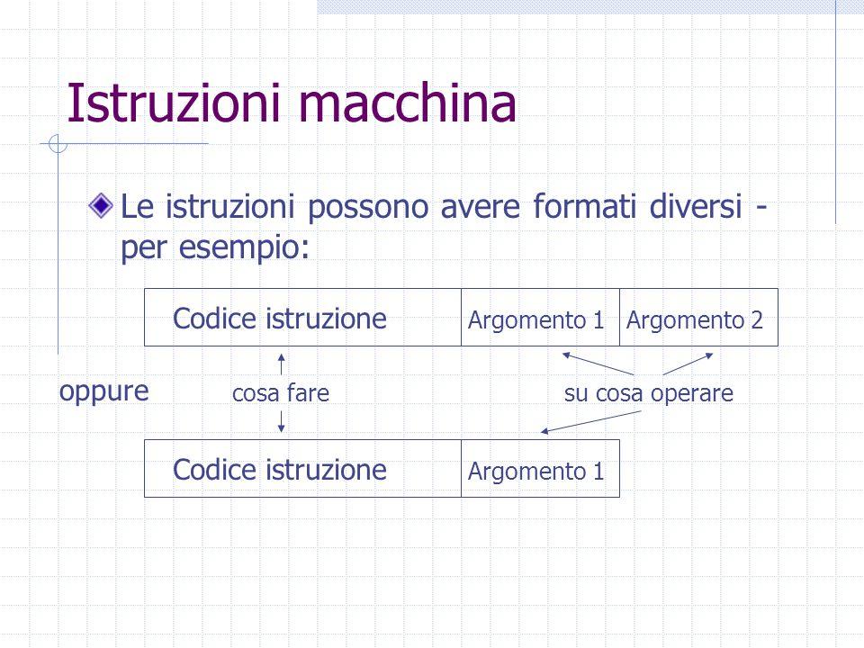 Istruzioni macchina Le istruzioni possono avere formati diversi - per esempio: Codice istruzione Argomento 1Argomento 2 Codice istruzione Argomento 1