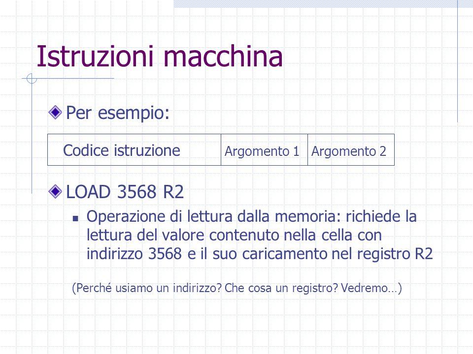 Istruzioni macchina Per esempio: LOAD 3568 R2 Operazione di lettura dalla memoria: richiede la lettura del valore contenuto nella cella con indirizzo 3568 e il suo caricamento nel registro R2 (Perché usiamo un indirizzo.