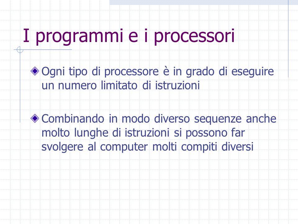 I programmi e i processori Ogni tipo di processore è in grado di eseguire un numero limitato di istruzioni Combinando in modo diverso sequenze anche m