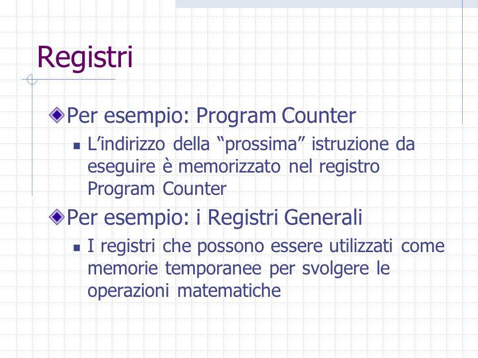 Registri Per esempio: Program Counter L'indirizzo della prossima istruzione da eseguire è memorizzato nel registro Program Counter Per esempio: i Registri Generali I registri che possono essere utilizzati come memorie temporanee per svolgere le operazioni matematiche