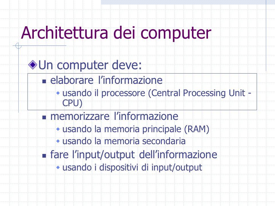 Architettura dei computer Un computer deve: elaborare l'informazione  usando il processore (Central Processing Unit - CPU) memorizzare l'informazione  usando la memoria principale (RAM)  usando la memoria secondaria fare l'input/output dell'informazione  usando i dispositivi di input/output