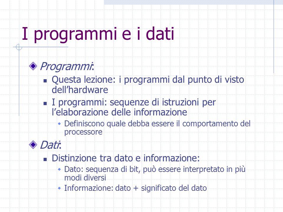 I programmi e i dati Programmi: Questa lezione: i programmi dal punto di visto dell'hardware I programmi: sequenze di istruzioni per l'elaborazione delle informazione  Definiscono quale debba essere il comportamento del processore Dati: Distinzione tra dato e informazione:  Dato: sequenza di bit, può essere interpretato in più modi diversi  Informazione: dato + significato del dato