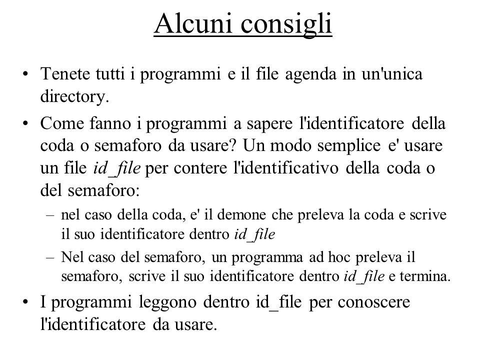 Alcuni consigli Tenete tutti i programmi e il file agenda in un unica directory.