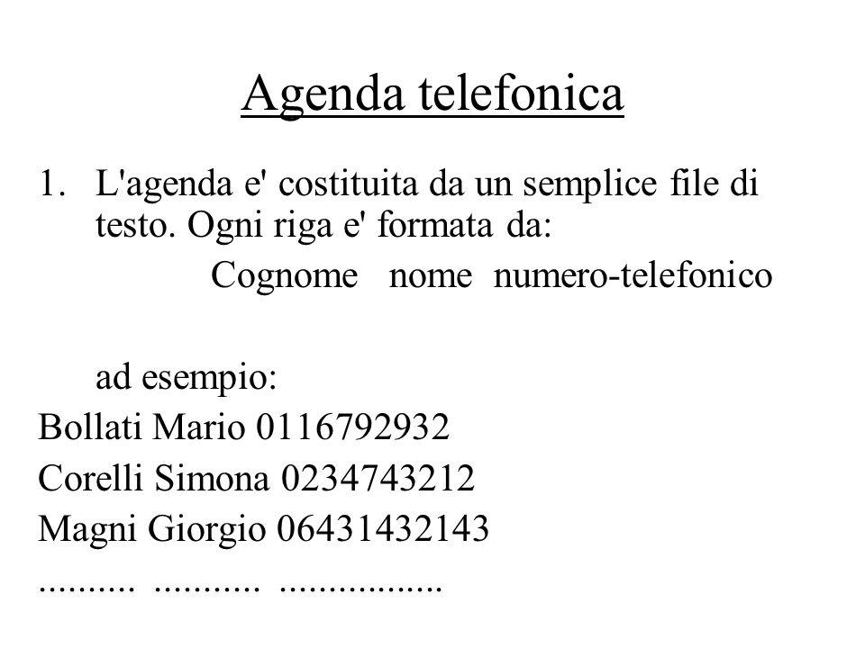 Agenda telefonica 1.L agenda e costituita da un semplice file di testo.