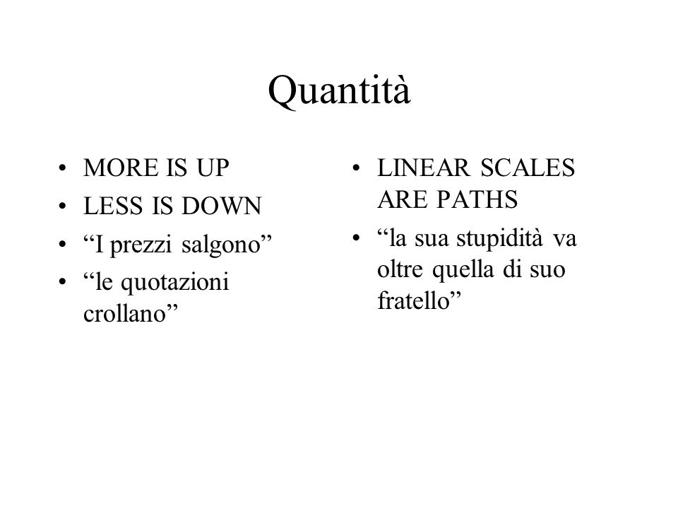 "Quantità MORE IS UP LESS IS DOWN ""I prezzi salgono"" ""le quotazioni crollano"" LINEAR SCALES ARE PATHS ""la sua stupidità va oltre quella di suo fratello"