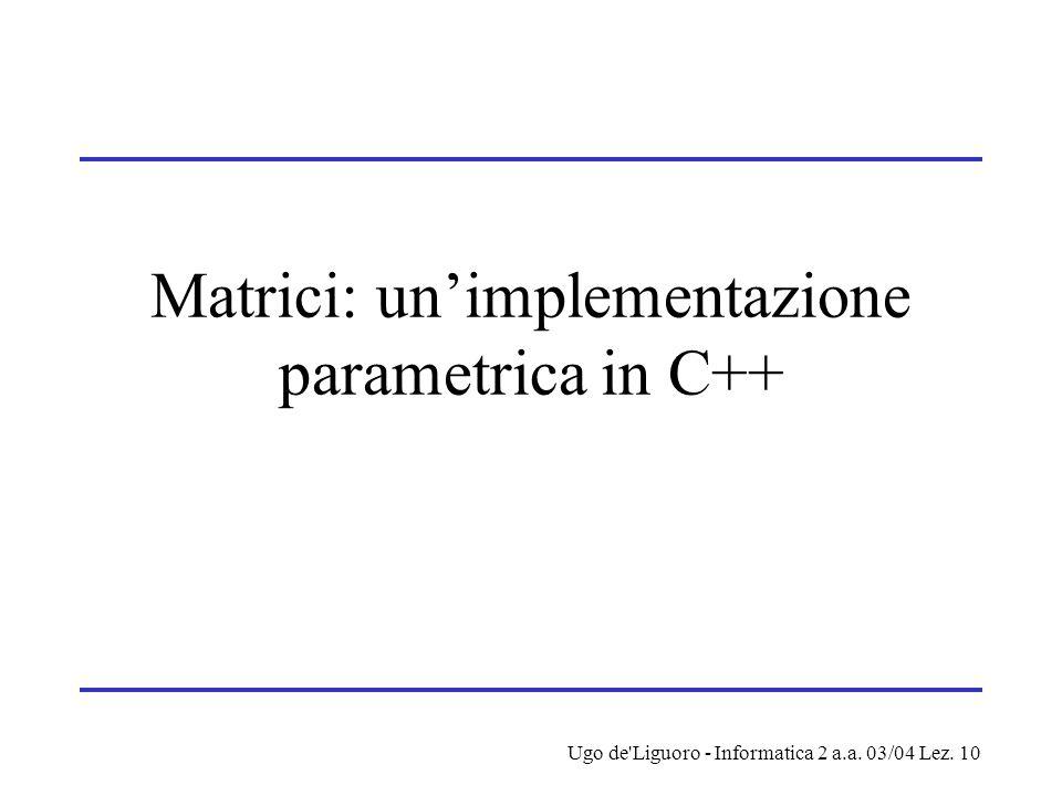 Ugo de Liguoro - Informatica 2 a.a. 03/04 Lez. 10 Matrici: un'implementazione parametrica in C++