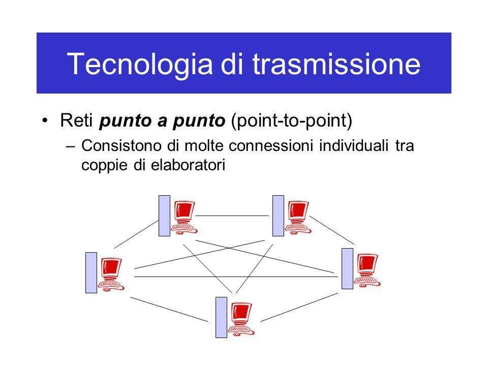 Tecnologia di trasmissione Reti punto a punto (point-to-point) –Consistono di molte connessioni individuali tra coppie di elaboratori