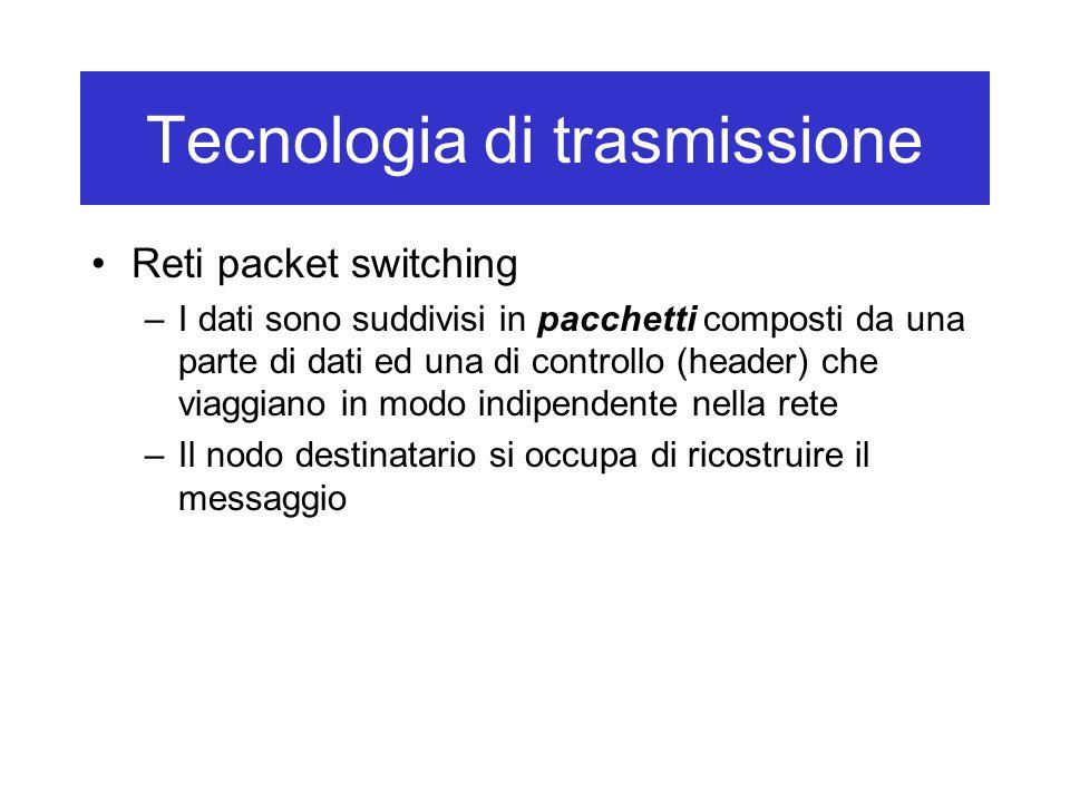Tecnologia di trasmissione Reti packet switching –I dati sono suddivisi in pacchetti composti da una parte di dati ed una di controllo (header) che viaggiano in modo indipendente nella rete –Il nodo destinatario si occupa di ricostruire il messaggio
