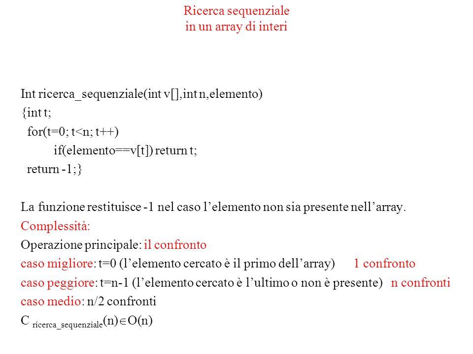 Ricerca binaria in un array di interi ordinato int ric_bin(int v[],int basso, int alto,int elemento) {int medio=(alto+basso)/2; if(elemento<v[medio] ric_bin(v[], basso,medio-1,elemento); else if(elemento>v[medio]) ric_bin(v[],medio+1,alto,elemento); if(elemento=v[medio]) then return medio; else return -1; } int ricerca_binaria(int v[],int n,int elemento) {ric_bin(v,0,n-1,elemento); }