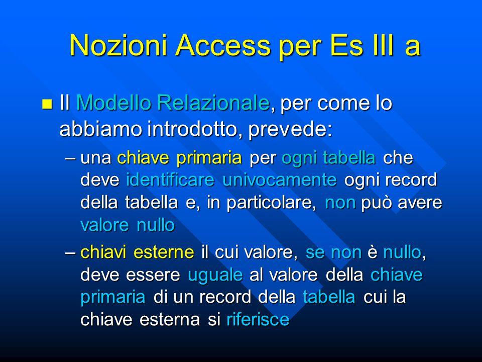 Nozioni Access per Es III a Il Modello Relazionale, per come lo abbiamo introdotto, prevede: Il Modello Relazionale, per come lo abbiamo introdotto, p
