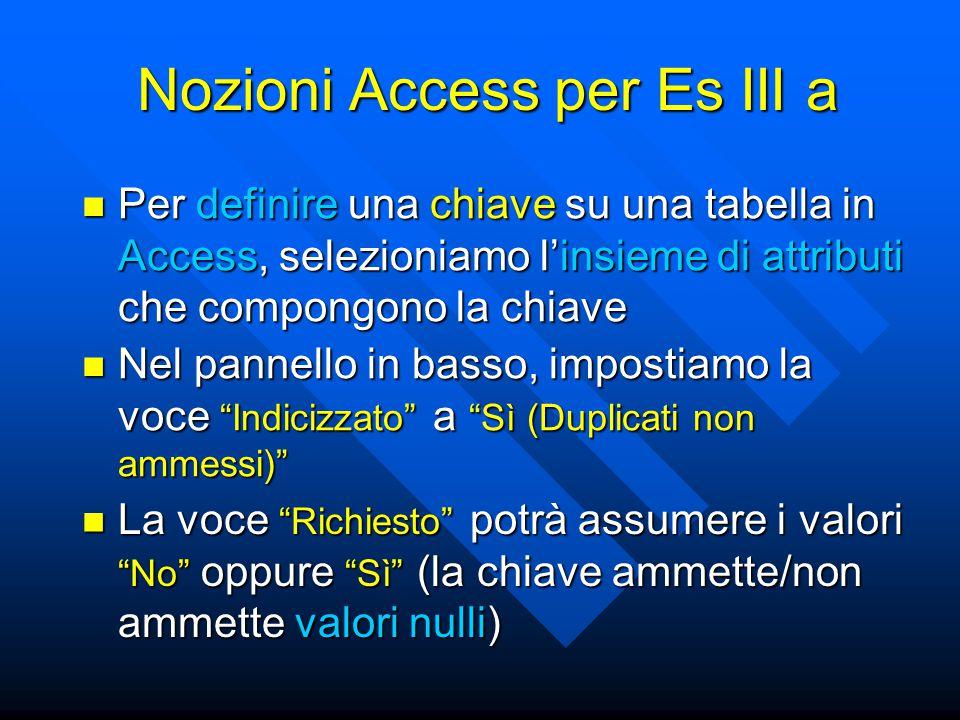 Nozioni Access per Es III a Per definire una chiave su una tabella in Access, selezioniamo l'insieme di attributi che compongono la chiave Per definir