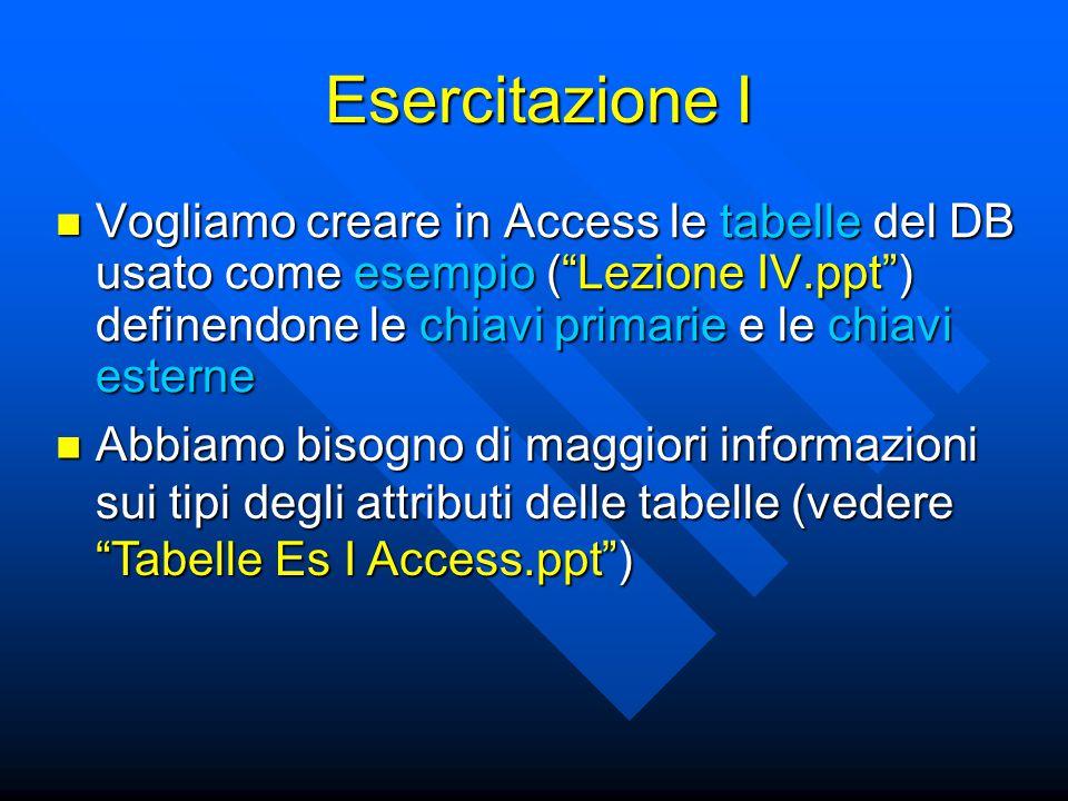 """Esercitazione I Vogliamo creare in Access le tabelle del DB usato come esempio (""""Lezione IV.ppt"""") definendone le chiavi primarie e le chiavi esterne V"""