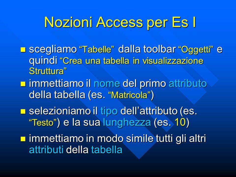 """Nozioni Access per Es I scegliamo """"Tabelle"""" dalla toolbar """"Oggetti"""" e quindi """"Crea una tabella in visualizzazione Struttura"""" scegliamo """"Tabelle"""" dalla"""