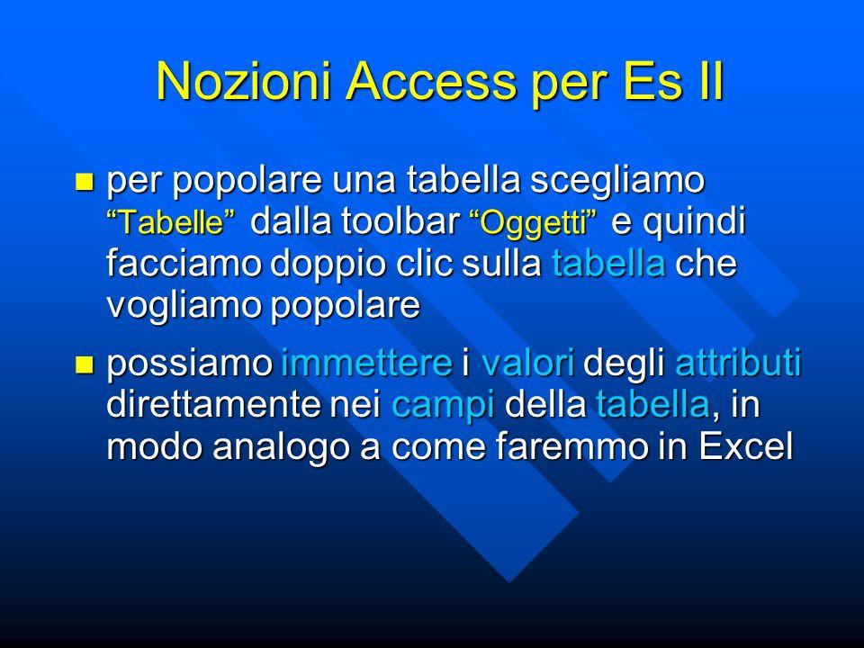 """Nozioni Access per Es II per popolare una tabella scegliamo """"Tabelle"""" dalla toolbar """"Oggetti"""" e quindi facciamo doppio clic sulla tabella che vogliamo"""