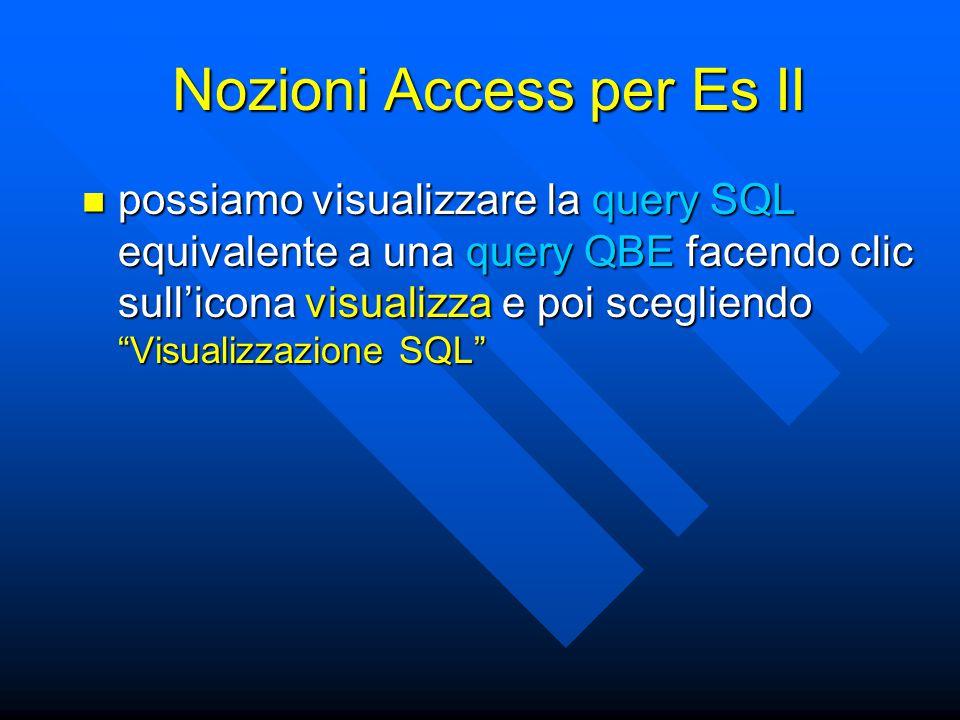 """possiamo visualizzare la query SQL equivalente a una query QBE facendo clic sull'icona visualizza e poi scegliendo """"Visualizzazione SQL"""" possiamo visu"""