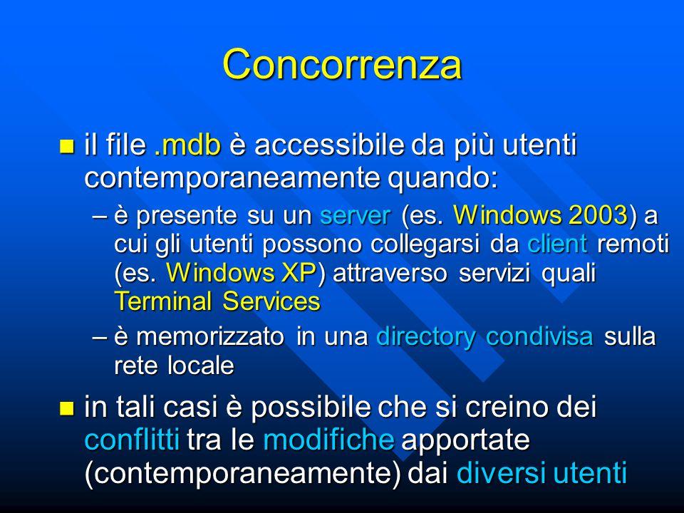 Concorrenza il file.mdb è accessibile da più utenti contemporaneamente quando: il file.mdb è accessibile da più utenti contemporaneamente quando: –è p