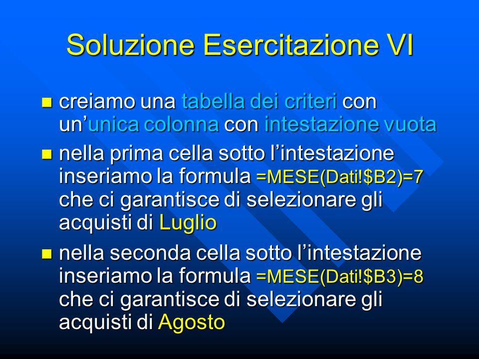 Soluzione Esercitazione VI creiamo una tabella dei criteri con un'unica colonna con intestazione vuota creiamo una tabella dei criteri con un'unica co