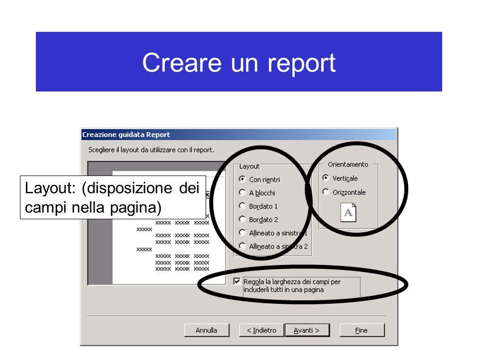 Creare un report Layout: (disposizione dei campi nella pagina)