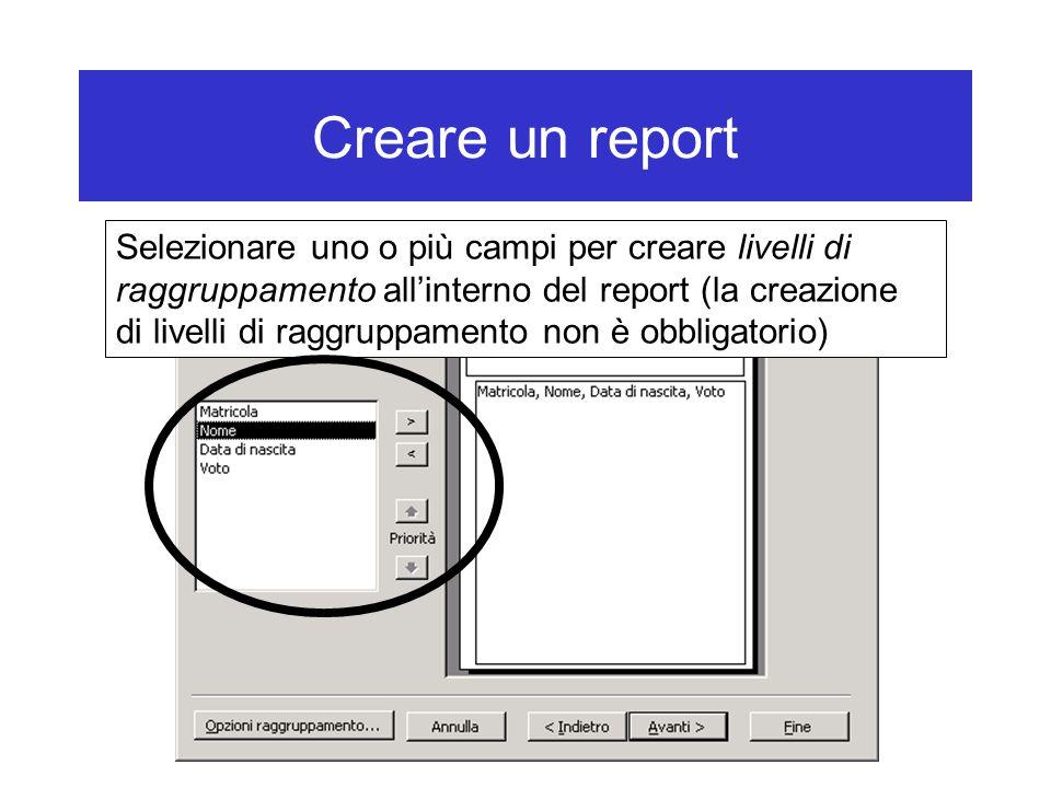 Creare un report Selezionare uno o più campi per creare livelli di raggruppamento all'interno del report (la creazione di livelli di raggruppamento non è obbligatorio)