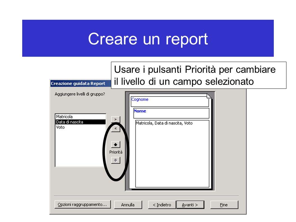 Creare un report Usare i pulsanti Priorità per cambiare il livello di un campo selezionato