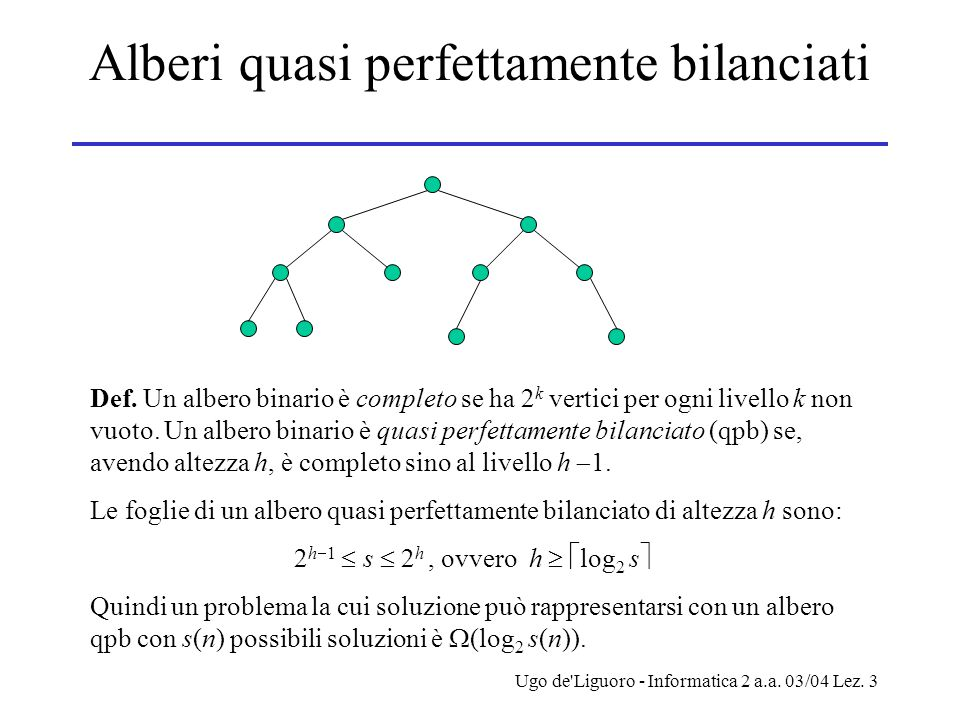 Ugo de Liguoro - Informatica 2 a.a. 03/04 Lez. 3 Alberi quasi perfettamente bilanciati Def.