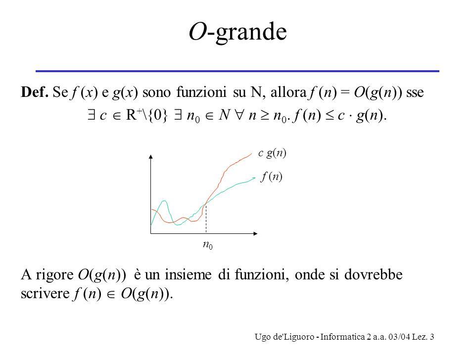 Ugo de Liguoro - Informatica 2 a.a. 03/04 Lez. 3 O-grande Def.