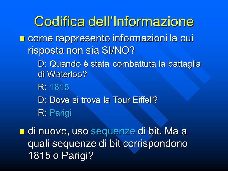 Codifica dell'Informazione come rappresento informazioni la cui risposta non sia SI/NO? come rappresento informazioni la cui risposta non sia SI/NO? D