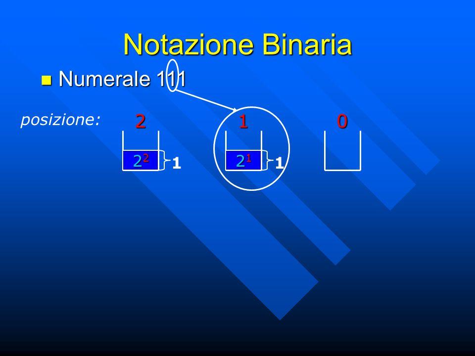 Notazione Binaria Numerale 111 Numerale 111 posizione:201 21212121 1 22222222 1