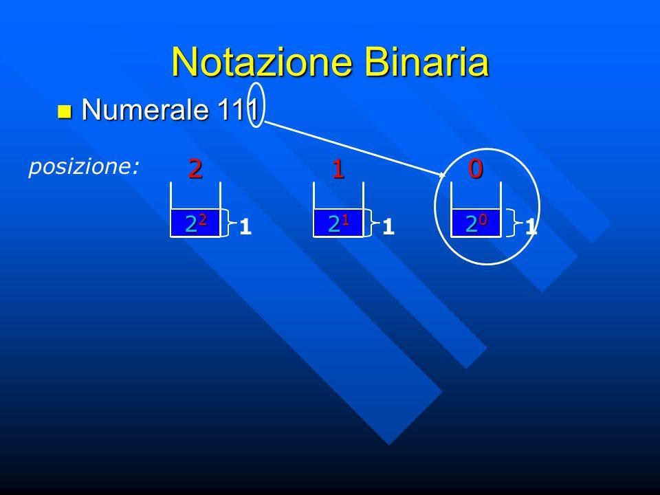 Notazione Binaria Numerale 111 Numerale 111 posizione:201 21212121 1 22222222 1 20202020 1