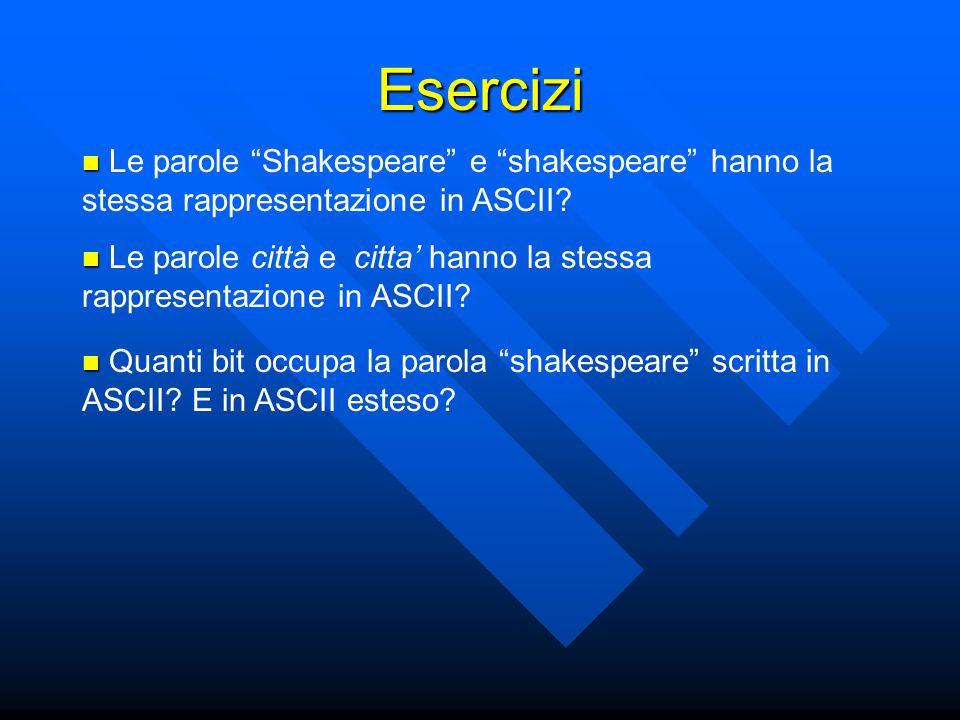 """Le parole """"Shakespeare"""" e """"shakespeare"""" hanno la stessa rappresentazione in ASCII? Esercizi Quanti bit occupa la parola """"shakespeare"""" scritta in ASCII"""