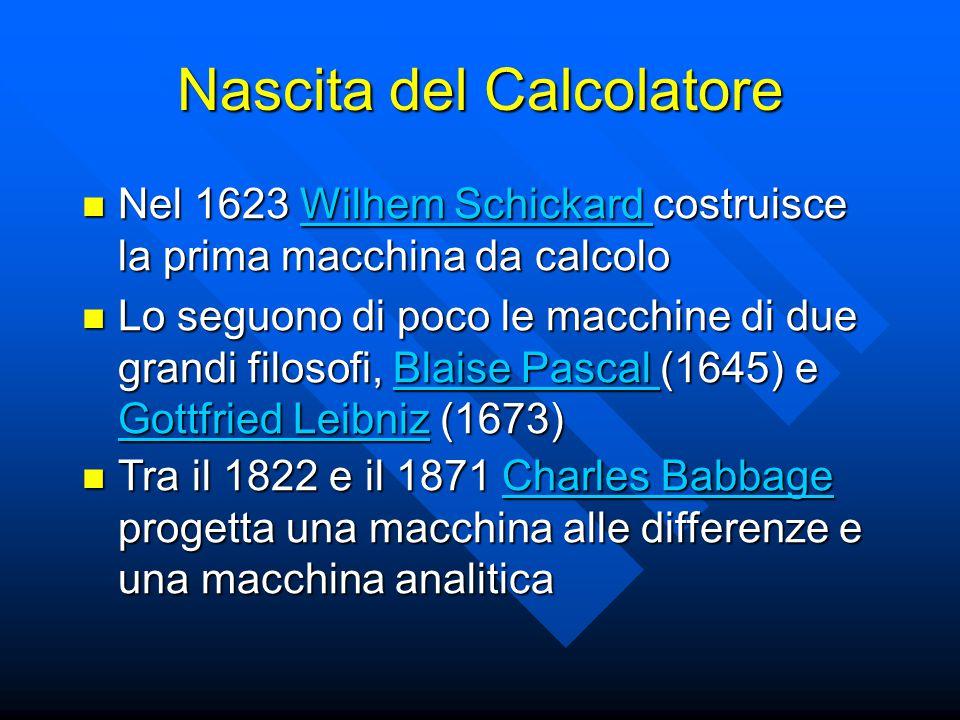 Nascita del Calcolatore Nel 1623 Wilhem Schickard costruisce la prima macchina da calcolo Nel 1623 Wilhem Schickard costruisce la prima macchina da calcoloWilhem Schickard Wilhem Schickard Lo seguono di poco le macchine di due grandi filosofi, Blaise Pascal (1645) e Gottfried Leibniz (1673) Lo seguono di poco le macchine di due grandi filosofi, Blaise Pascal (1645) e Gottfried Leibniz (1673)Blaise Pascal Gottfried LeibnizBlaise Pascal Gottfried Leibniz Tra il 1822 e il 1871 Charles Babbage progetta una macchina alle differenze e una macchina analitica Tra il 1822 e il 1871 Charles Babbage progetta una macchina alle differenze e una macchina analiticaCharles BabbageCharles Babbage