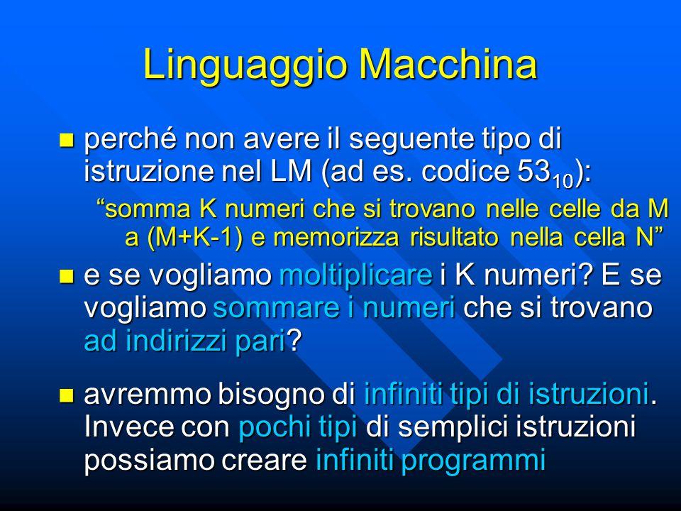 Linguaggio Macchina perché non avere il seguente tipo di istruzione nel LM (ad es.