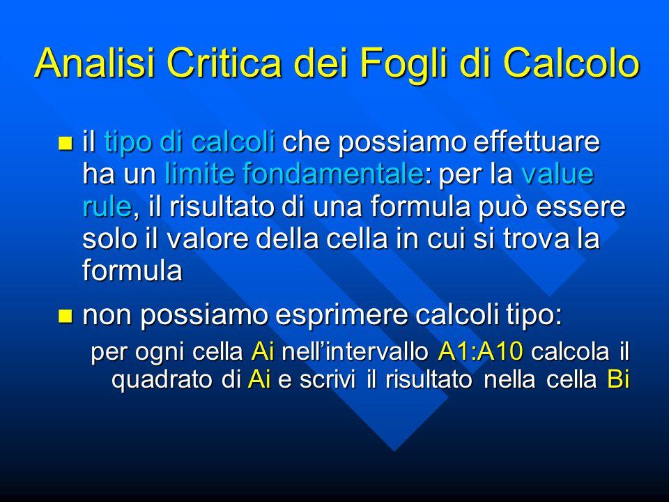 Analisi Critica dei Fogli di Calcolo il tipo di calcoli che possiamo effettuare ha un limite fondamentale: per la value rule, il risultato di una formula può essere solo il valore della cella in cui si trova la formula il tipo di calcoli che possiamo effettuare ha un limite fondamentale: per la value rule, il risultato di una formula può essere solo il valore della cella in cui si trova la formula non possiamo esprimere calcoli tipo: non possiamo esprimere calcoli tipo: per ogni cella Ai nell'intervallo A1:A10 calcola il quadrato di Ai e scrivi il risultato nella cella Bi