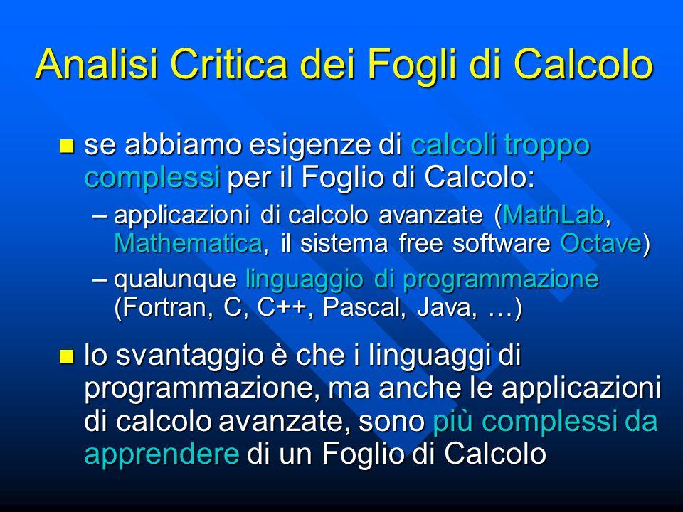 Analisi Critica dei Fogli di Calcolo se abbiamo esigenze di calcoli troppo complessi per il Foglio di Calcolo: se abbiamo esigenze di calcoli troppo complessi per il Foglio di Calcolo: –applicazioni di calcolo avanzate (MathLab, Mathematica, il sistema free software Octave) –qualunque linguaggio di programmazione (Fortran, C, C++, Pascal, Java, …) lo svantaggio è che i linguaggi di programmazione, ma anche le applicazioni di calcolo avanzate, sono più complessi da apprendere di un Foglio di Calcolo lo svantaggio è che i linguaggi di programmazione, ma anche le applicazioni di calcolo avanzate, sono più complessi da apprendere di un Foglio di Calcolo