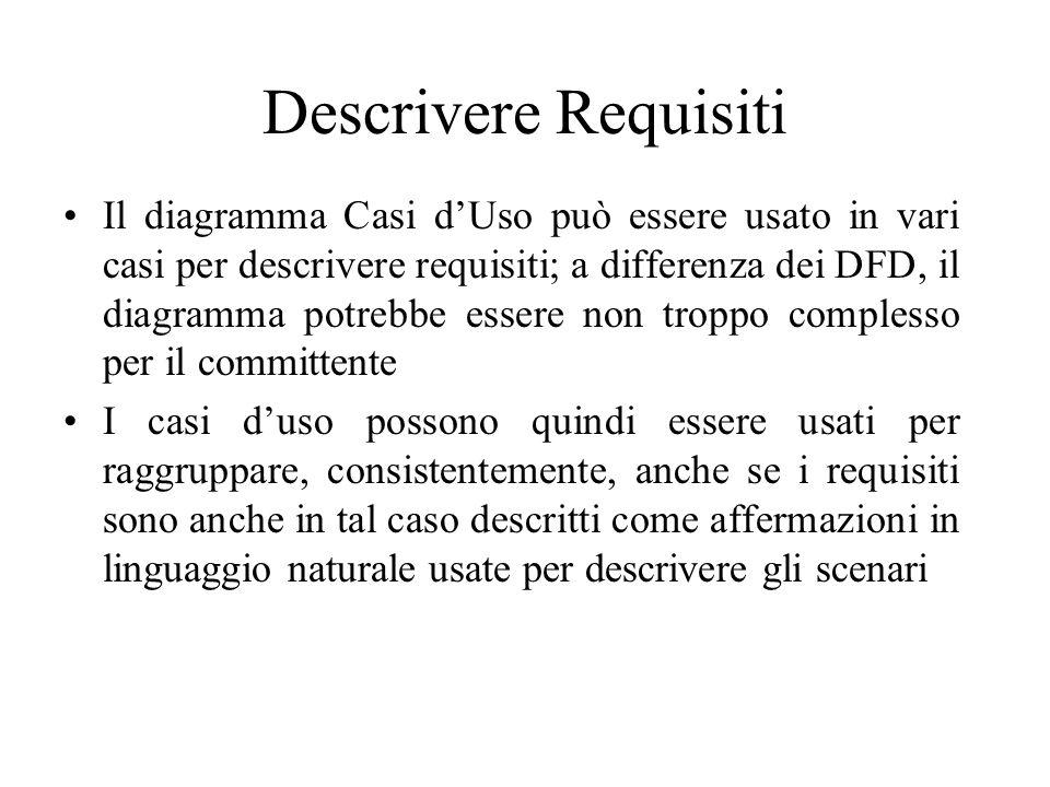 Descrivere Requisiti Il diagramma Casi d'Uso può essere usato in vari casi per descrivere requisiti; a differenza dei DFD, il diagramma potrebbe essere non troppo complesso per il committente I casi d'uso possono quindi essere usati per raggruppare, consistentemente, anche se i requisiti sono anche in tal caso descritti come affermazioni in linguaggio naturale usate per descrivere gli scenari