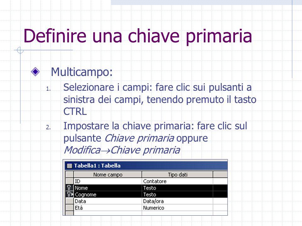 Definire una chiave primaria Multicampo: 1.